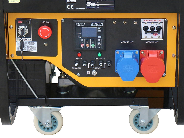 12 kVA // 9,2kW 400V 50Hz 3-phasig Rotek Schallged/ämmter Benzin Stromerzeuger GG4SS-3-11000-ES