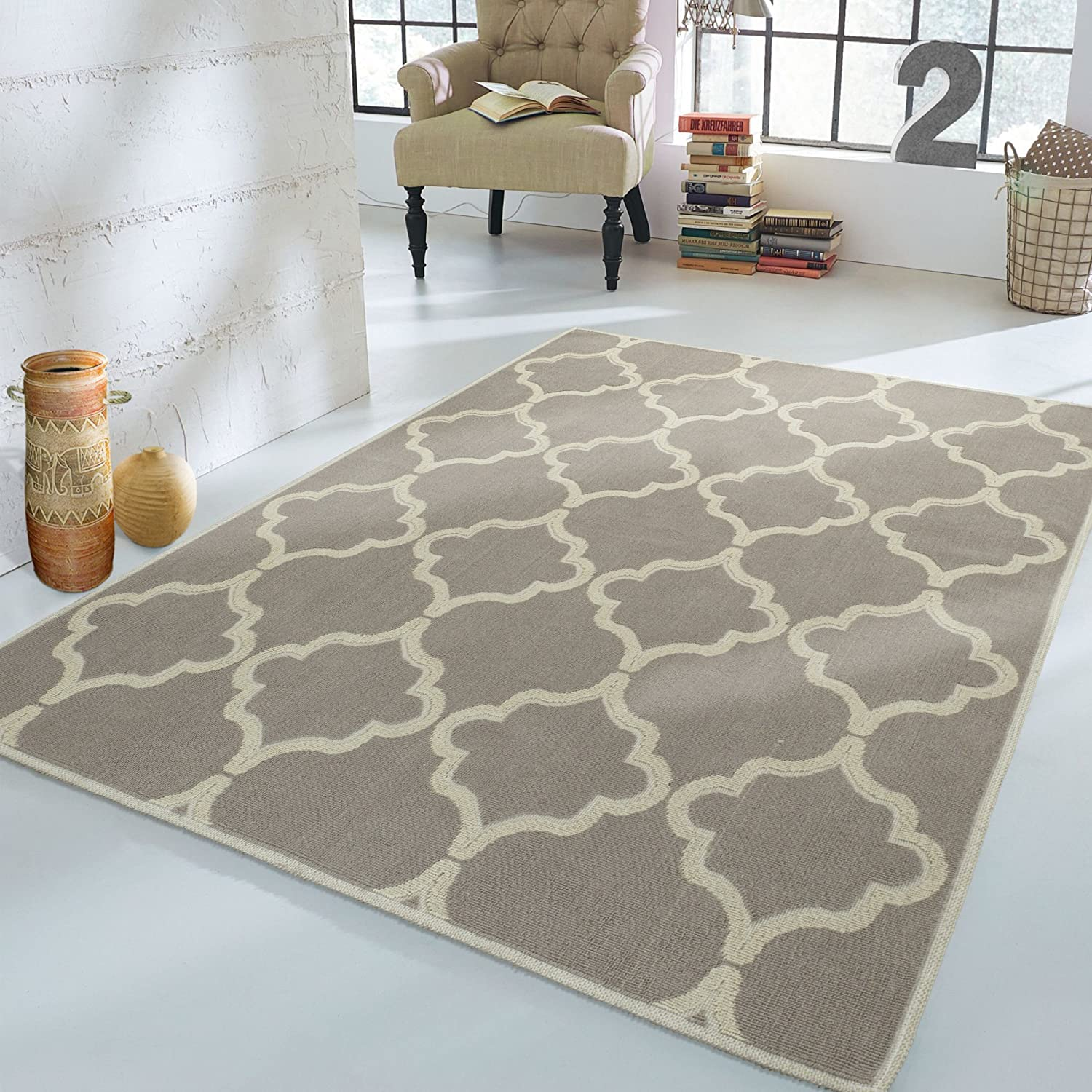 Ottomanson Nature Cotton Kilim Collection Brown Diamond Trellis Design 2'7' X 6'0' Runner Area Rug K10018-3X6