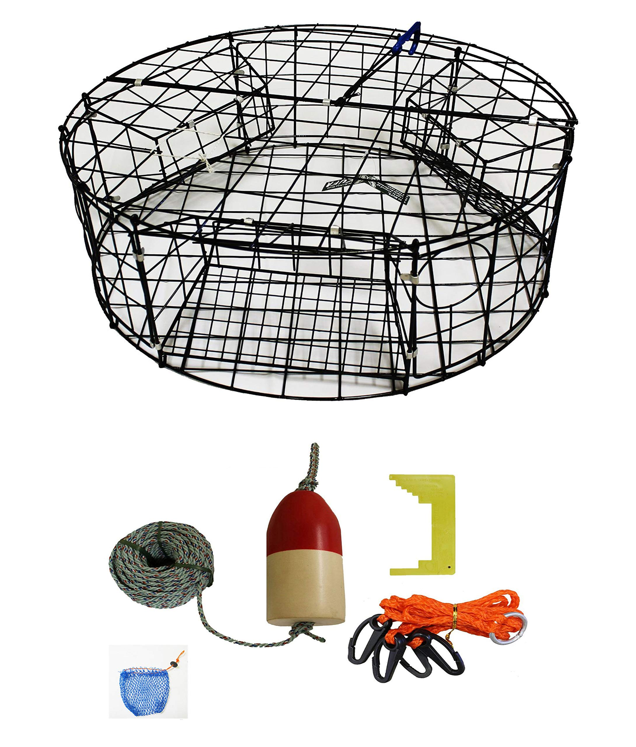 KUFA Vinyl Coated Round Crab Trap & Accessory Kit, 1/4'' X100' Lead Core Rope, Clipper, Bait Case & 11'' Float