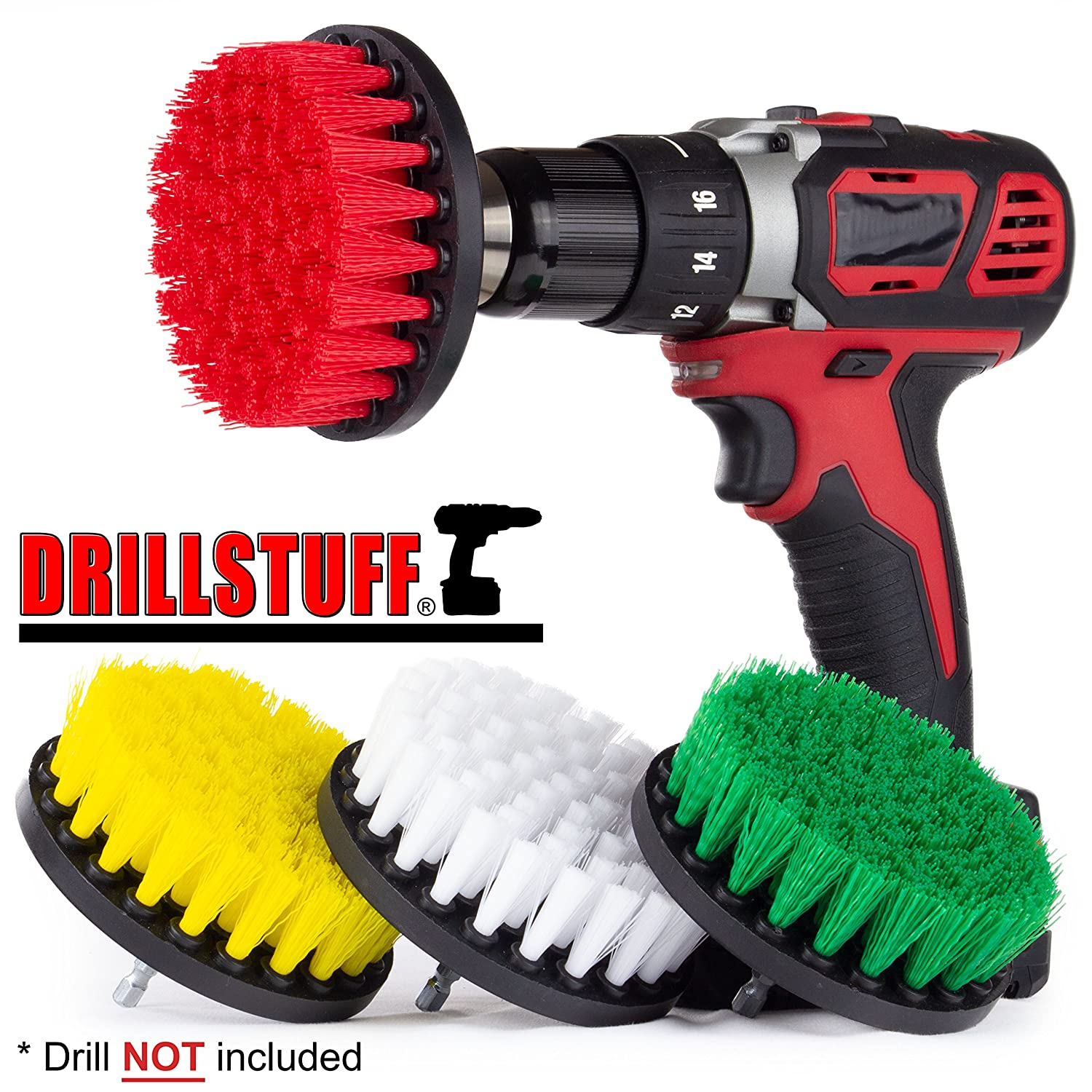 4in 4 Piece Soft, Medium and Stiff Power Scrubbing Brush Drill Attachment for Cleaning Showers, Tubs, Bathrooms, Tile, Grout, Carpet, Tires, Boats by DrillStuff 4in-S-GRWY-QC-DS