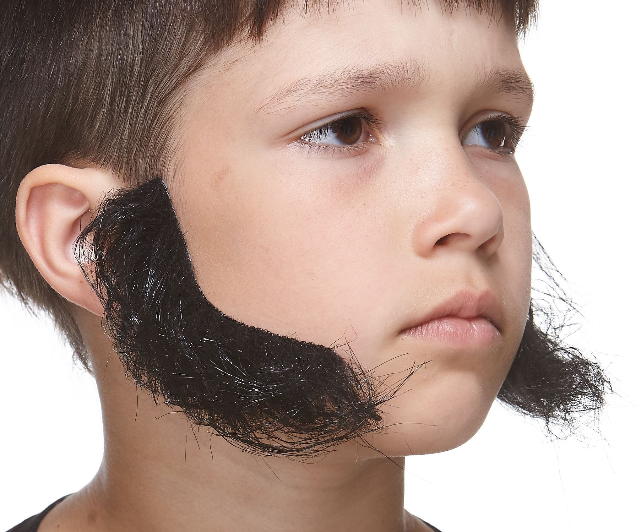 Mustaches Self Adhesive, Novelty, Fake, Realistic, Small L Shaped Mutton Chops Sideburns, Black Color
