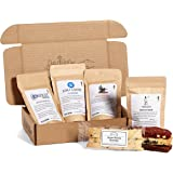 Bean Box Gourmet Coffee and Biscotti Gift Box - (4 handpicked roasts + 4 artisan biscotti, whole bean coffee, biscotti cookies, treats and coffee)