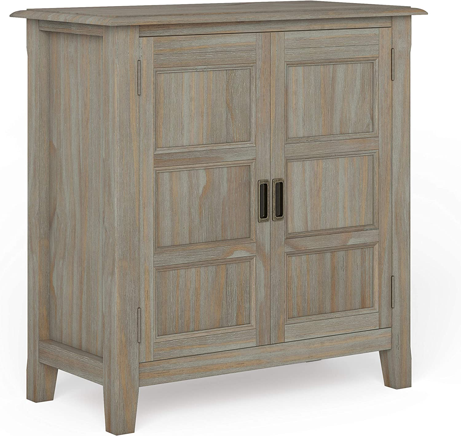 SIMPLIHOME Burlington SOLID WOOD 30 inch Wide Traditional Low Storage Cabinet in Distressed Grey, with 2 Doors, 2 Adjustable Shelves