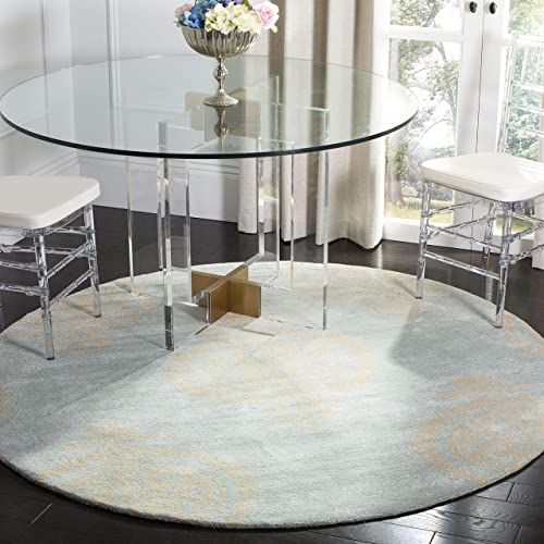 Safavieh Soho Collection SOH703A Handmade Blue and Beige Premium Wool Round Area Rug 6 Diameter