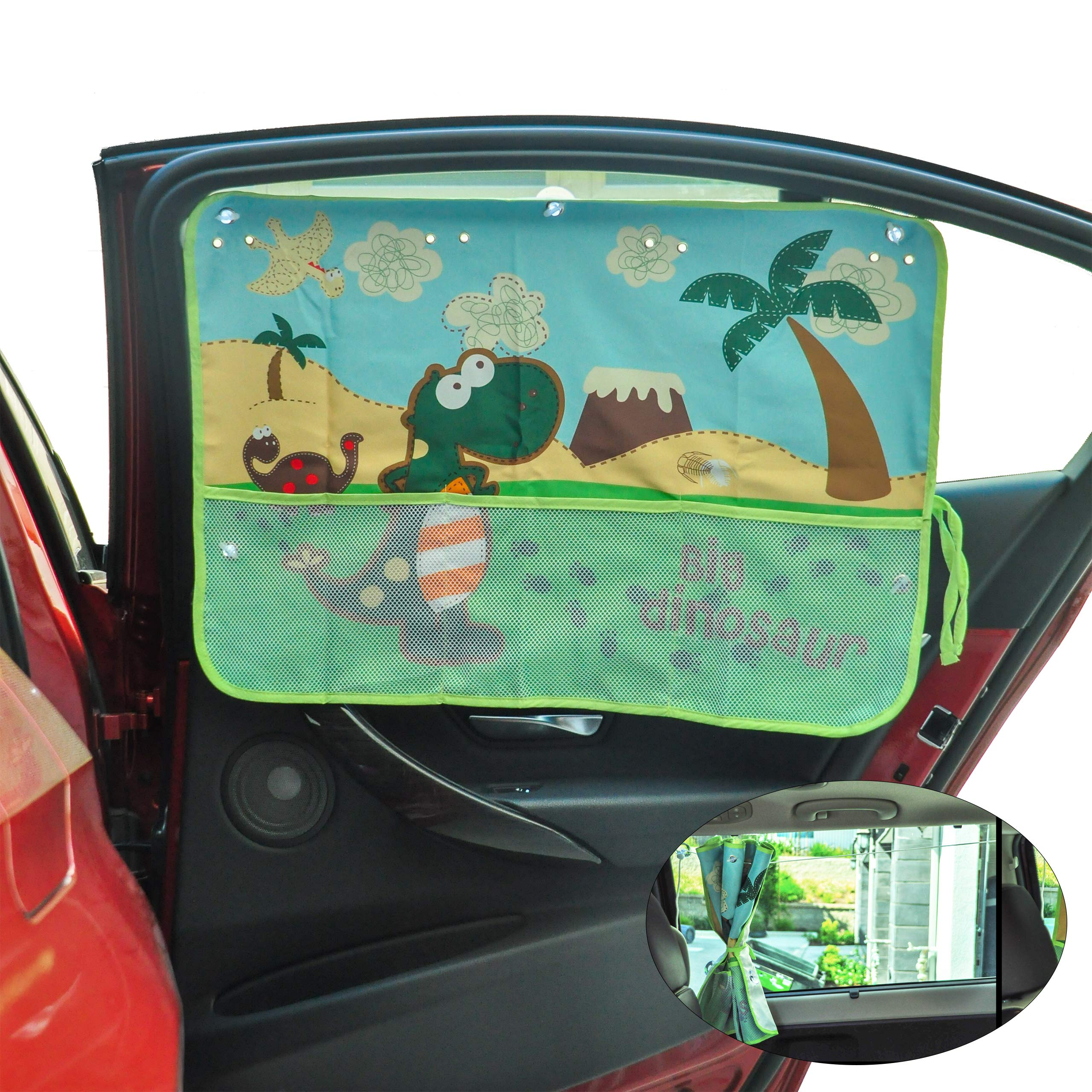 AutoPal - Car Window Sun Shades for Baby with Practical Pockets | Protect Your Kids from UV | Fit Most Cars | Easy Install (Big Dinosaur) by Auto Mate