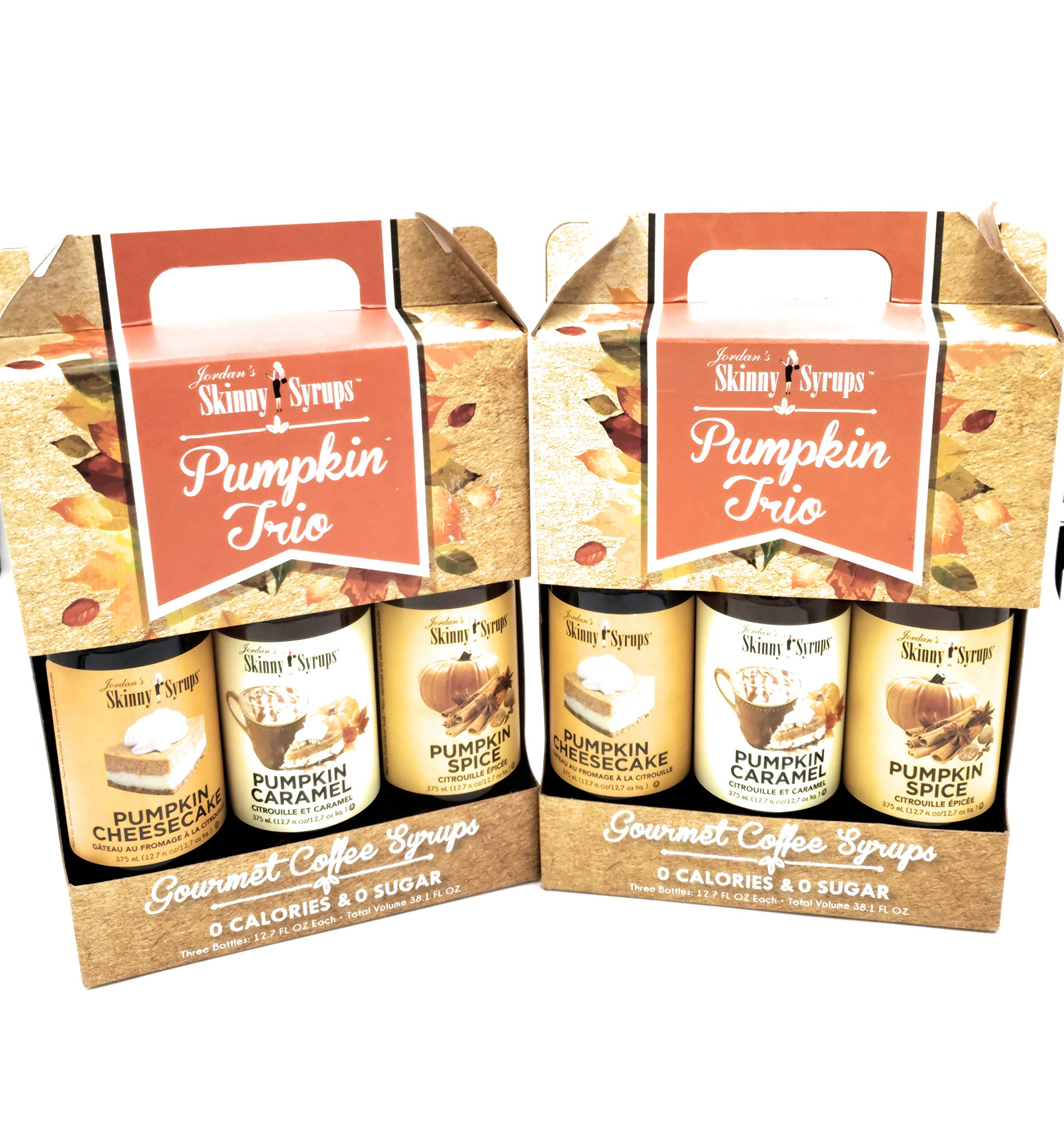 Fall Autumn Skinny Syrups Trio Pack Pumpkin Spice Pumpkin Caramel and Pumpkin Cheesecake (3- 12.7 Ounce Bottles) Gluten-Free and Kosher Fall Autumn Harvest Flavors (BONUS JFW Exclusive Fall in Love) by JFW