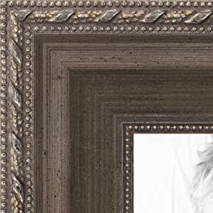"""ArtToFrames 21x23 inch with Metallic Detailing Wood Picture Frame, 2WOMD5027-21x23, Muted Silver, 21"""" x 23"""""""