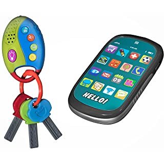 Playkidz: My First Cell Phone & Car Keys Pretend Play Set, Touch Phone, Car Keys with Remote Alarm, And Sounds, - Great Educational Toy for Fun & Learning