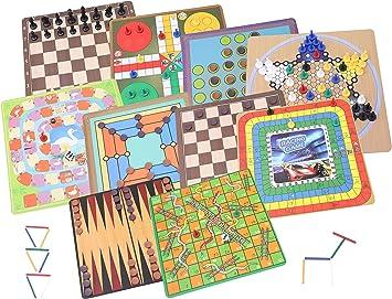 TOYLAND® 10 en 1 Colección de Juegos clásicos: Juegos de Mesa Familiares Tradicionales ...: Amazon.es: Juguetes y juegos