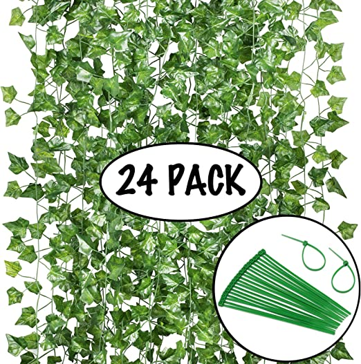 Artificial Ivy Greenery Fake Hanging Vine Plants Leaf Garland Hanging for Wedding Party Garden Outdoor Greenery Office Kitchen Home Wall Decoration 24 Pack Total 160 Feet Each 82inch