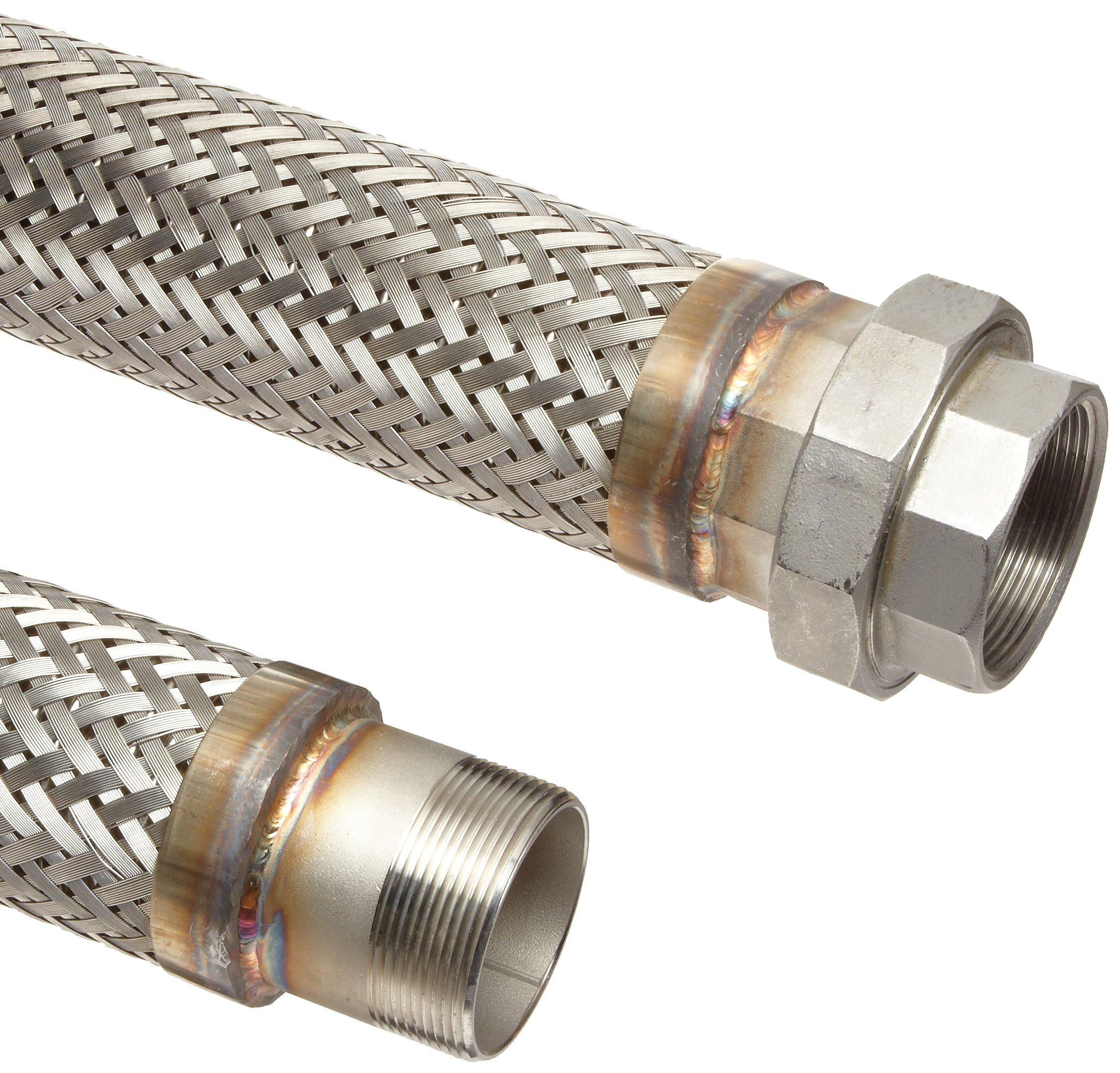 Unisource SF21 Stainless Steel Cryogenic Liquid Transfer Hose Assembly, 1/2'' Stainless Steel NPT Male x NPT Female Connection, 1075 PSI Maximum Pressure, 30'' Length, 1/2'' ID
