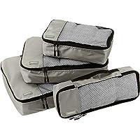 AmazonBasics Packing Cubes/Travel Pouch/Travel Organizer - Small, Medium, Large, and Slim, Grey (4-Piece Set)