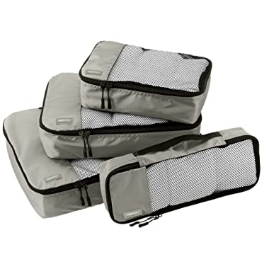 AmazonBasics 4 Piece Packing Travel Organizer Cubes Set - Grey