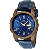 SWISSTONE Leather Strap Analogue Blue Dial Men's Wrist Watch