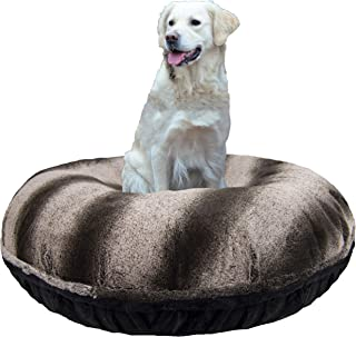 product image for BESSIE AND BARNIE Signature Frosted Glacier/ Black Puma Luxury Extra Plush Faux Fur Bagel Pet/Dog Bed (Multiple Sizes)