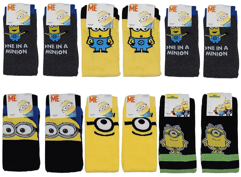 Mens Minions 12 PAIRS Socks Novelty Gift Adult 6-11