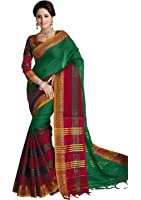 Venisa Women's Cotton Saree With Blouse Piece (17301, Green, Free Size)
