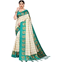 Pisara Women Mysore Silk Printed Saree, Orange & Off White Sari