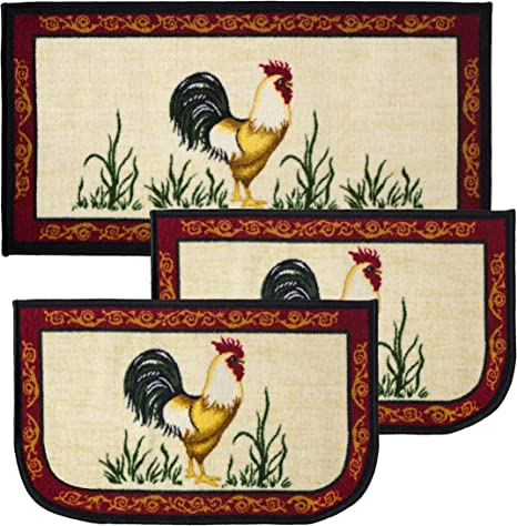 Amazon Com Kashi Home Dot Rooster 3pc Kitchen Rug Set 2 Slice 18 X30 Rugs 1 20 X40 Mat Non Slid Latex Back Dining