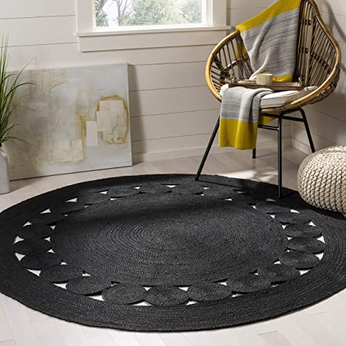 Safavieh Natural Fibers Collection NF364D Black Area 8 Round Rug