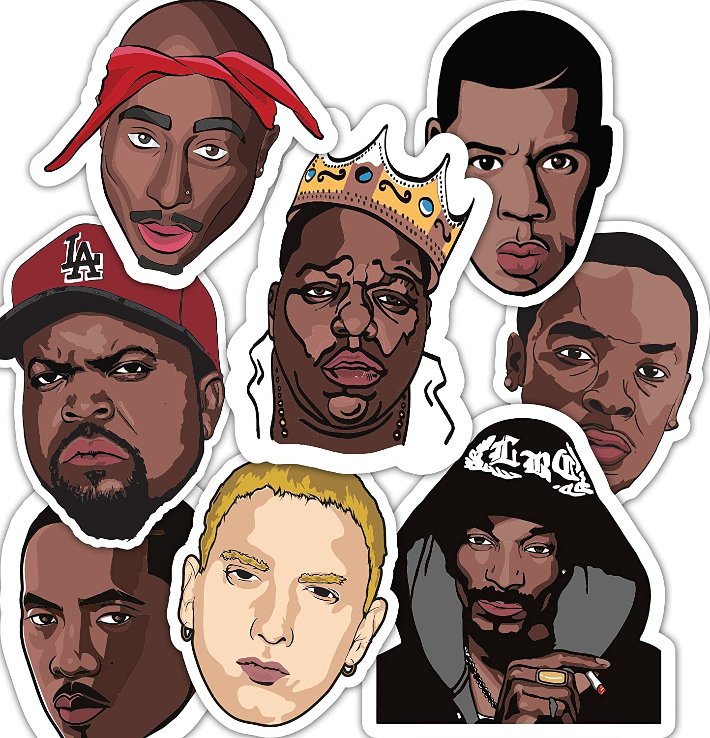 90's Rappers Sticker Set - Water bottle Stickers - Sticker Bomb - Laptop Stickers **Water Proof Stickers**
