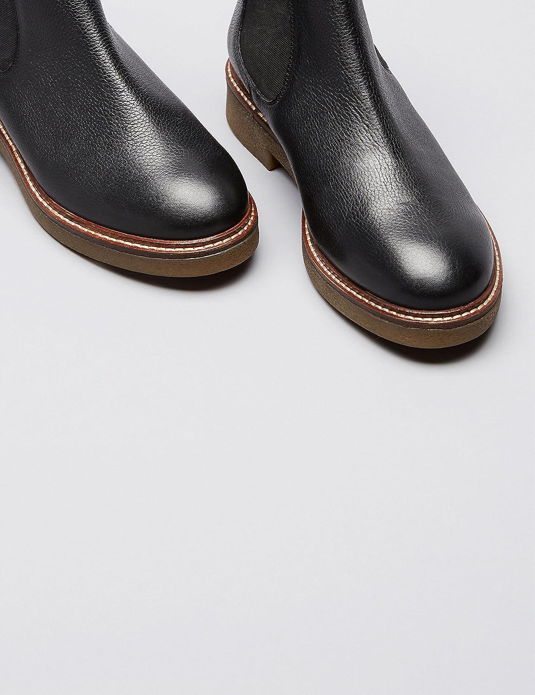 FIND Chelsea Stiefel Kreppsohle Damen aus Glattleder, mit Kreppsohle Stiefel Schwarz (schwarz) 016a02