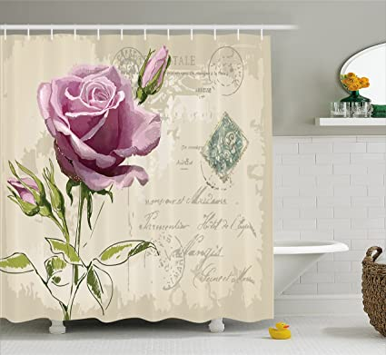 Ambesonne Rose Shower Curtain Vintage Postcard Design With Delicate Blossom Hand Drawing Artsy Print