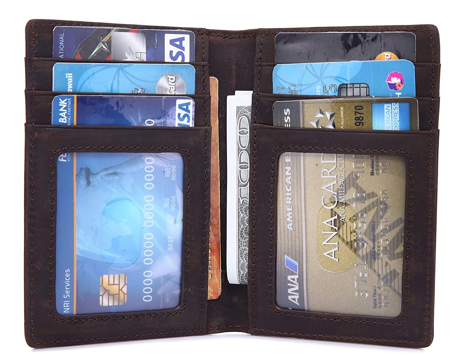 RFID Blocking Leather Wallet (12 Slots) Credit Card Holder w/ Cash Pockets RFID--0002