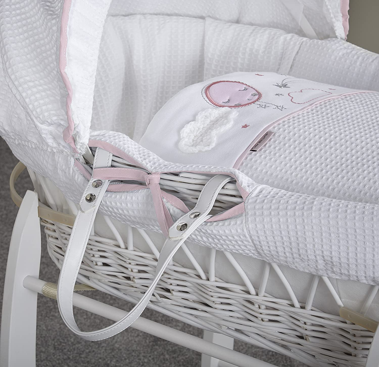Over The Moon Pink//White Clair de Lune Wicker Moses Basket