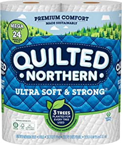 Quilted Northern Ultra Soft & Strong Toilet Paper, 6= 24 Regular Bath Tissue Rolls, 6 Count