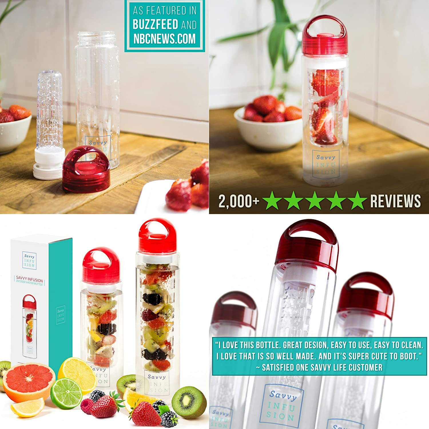 Home 187 schlafen amp bad 187 wellness pur - Amazon Com Savvy Infusion Water Bottles 24 Or 32 Ounce Featuring Unique Leak Proof Sealed Cap W Handle Includes Bonus Recipe Ebook Ships To You In