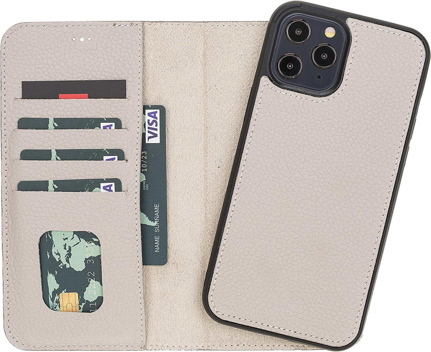 iPhone 12 6.1 Magnetic Detachable Wallet Case for iPhone 12 Card /& ID Slots for Women Beige Genuine Leather Wallet Case