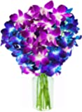 KaBloom Exotic Orchid Bouquet of 5 Blue Dendrobium Orchids & 5 Purple Dendrobium Orchids from Thailand with Vase