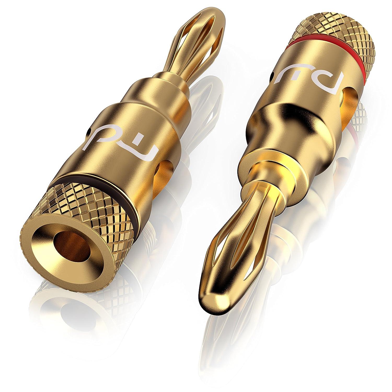 Adaptateur audio premium de Primewire | fiche de haut-parleurs Hifi | connecteur enfichable | fiche banane | pour câbles de haut-parleurs de jusqu'à 6,8mm | contacts dorés | transmission de signal optimale | qualité de son parfai