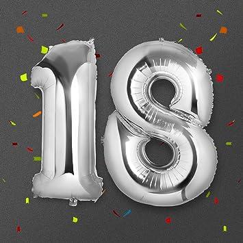 Globo 18 Años, Meersee 40 pulgada Globo Balón de Helio Número de oro brillante argentado Decoración del globo del cumpleaños No. 18