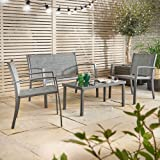 VonHaus 4 Pc Steel Garden Table and Chairs Set - Outdoor Textoline Glass-top Patio Decking Furniture - Black / Grey