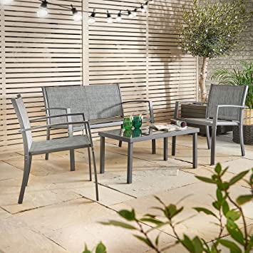 vonhaus 4 pc steel garden table and chairs set outdoor textoline glass top patio