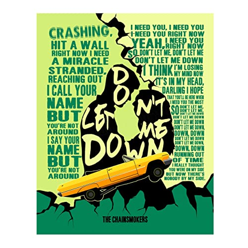 The Chainsmokers Don T Let Me Down Song Lyric Wall Print 11 X 14 Rock Music Word Art W Yellow Convertible Image Ready To Frame Home Studio Bar Man Cave Decor Perfect For Pop Rock Remix Fans Handmade