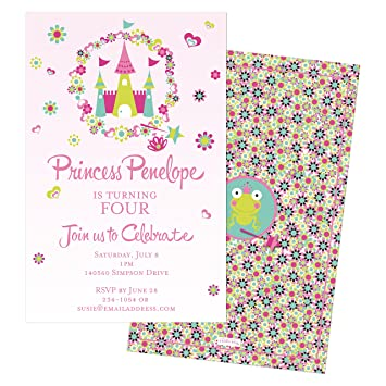 Princess Castle Childrens Personalized Birthday Invitations Set Of 10