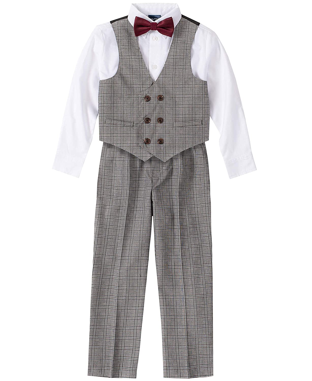 Vintage Style Children's Clothing: Girls, Boys, Baby, Toddler Nautica Boys 4-Piece Vest Set with Dress Shirt Bow Tie Vest and Pants $20.97 AT vintagedancer.com