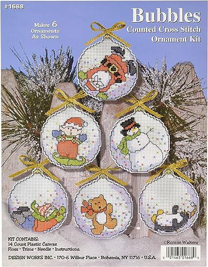 Design Works THINK SNOW Snowman Ornaments Cross Stitch 14 Ct Plastic Canvas Kit