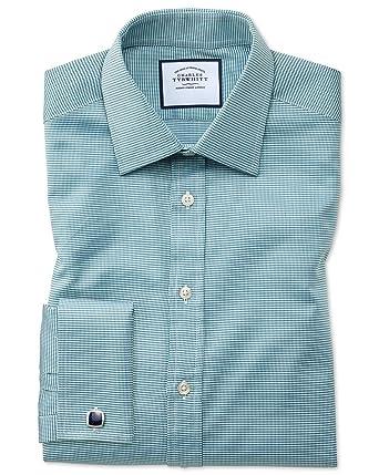 Camisa Verde Azulado de algodón Egipcio Slim fit con diseño Micro ...