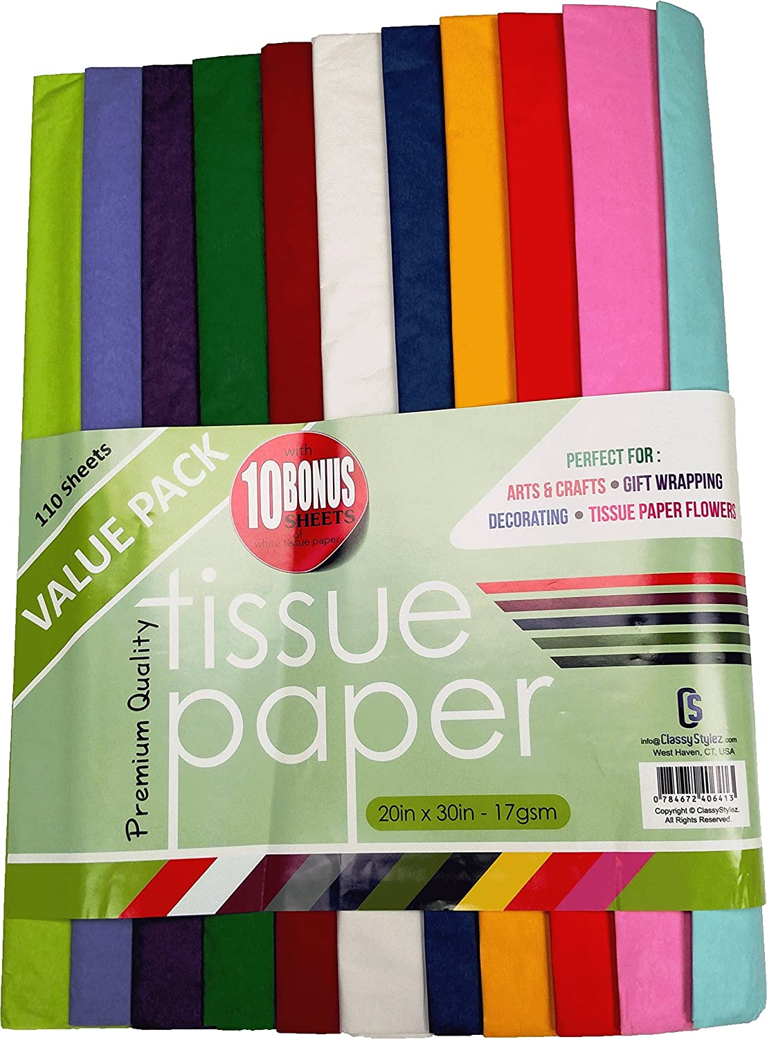 Amazon Classystylez 110x Acid Free Assorted Colored Tissue