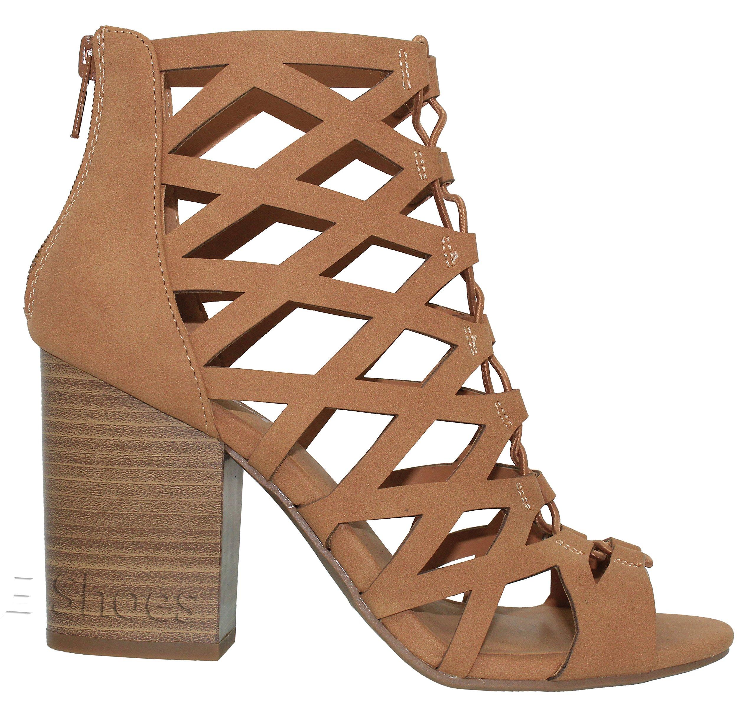MVE Shoes Women's Open Toe Strappy Back Zipper Chunky Heel, tan nb Size 10 by MVE Shoes (Image #1)