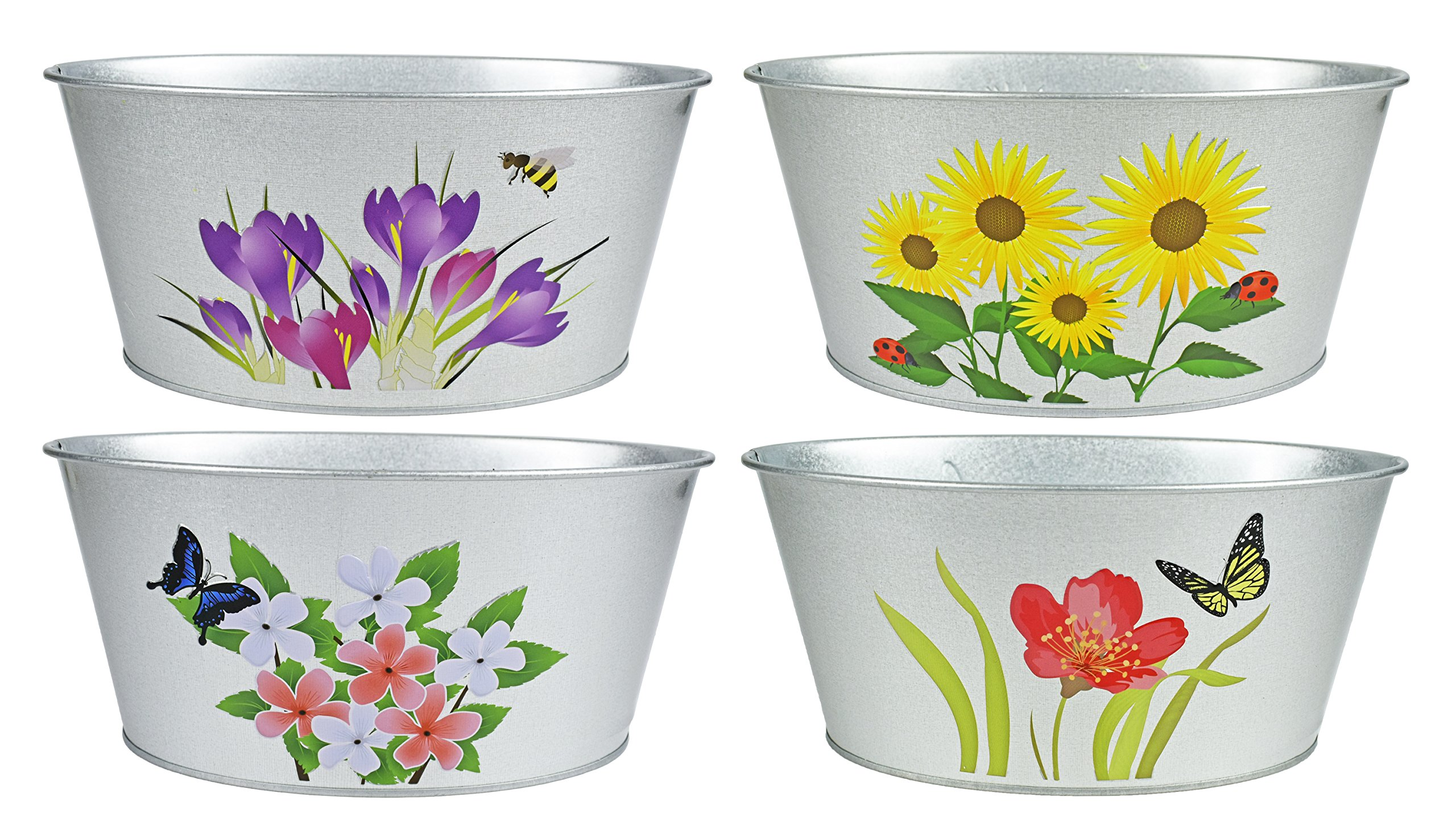 Set of 4 Tin Planters! Perfect for Decorative Gardening, Organizing, Decorative Storage, Gift Baskets, and More!
