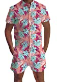 554e7408a09 Leapparel Mens Outfit 3D Graphic Light Blue Flora Onesies Short Sleeve with  Button Knee Length Pants Romper Overall 2XL