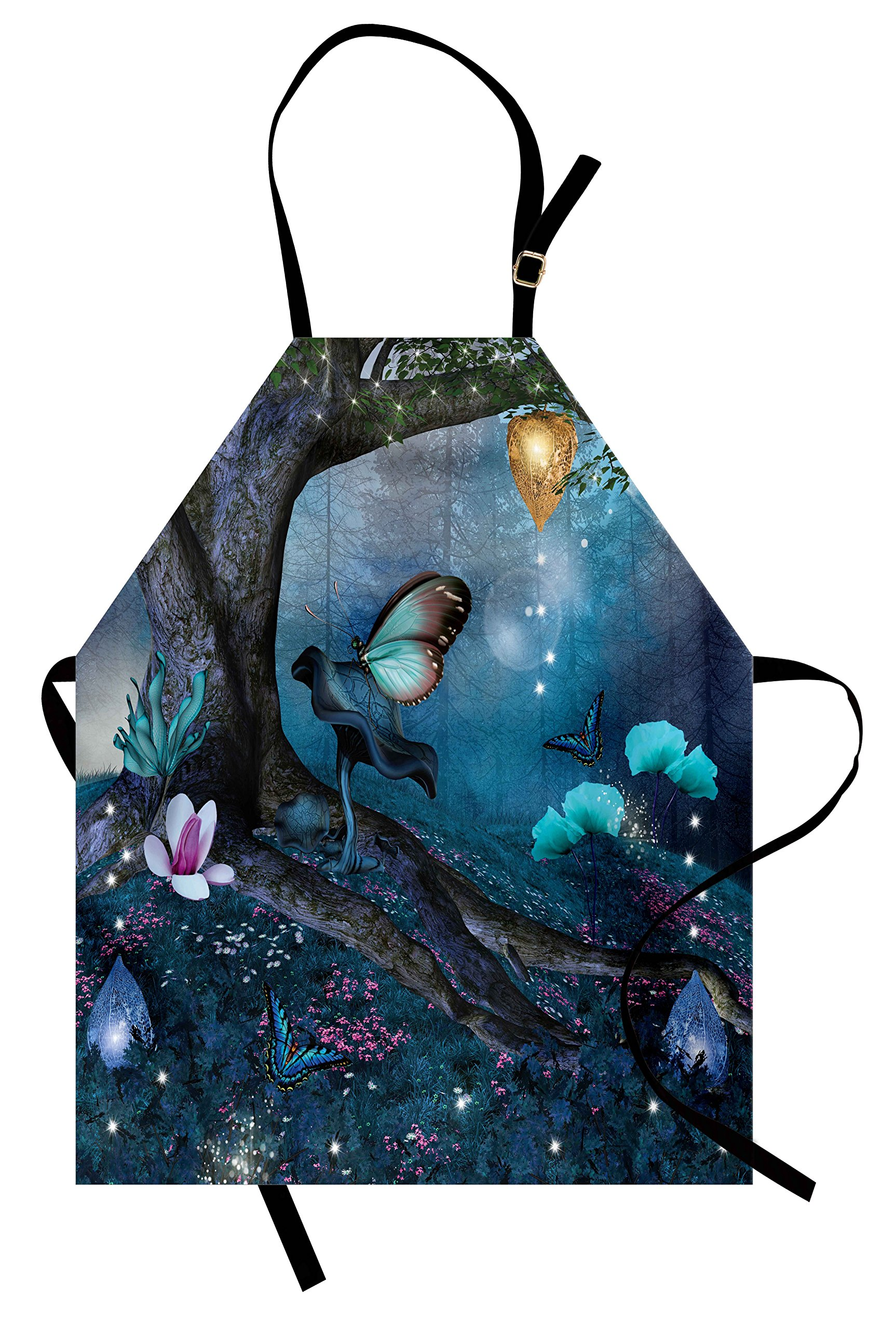 Lunarable Fantasy Apron, Enchanted Forest with Blooming Flowers Mystical Environment Woods Illustration, Unisex Kitchen Bib Apron with Adjustable Neck for Cooking Baking Gardening, Multicolor