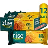 Rise Whey Protein Bars - Almond Honey | Healthy Breakfast Bar & Protein Snacks, 20g Protein, 4g Fiber, Just 3 Whole Food Ingr