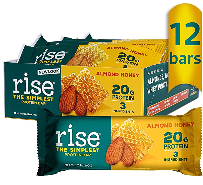 Amazon.com : Rise Whey Protein Bars - Almond Honey   Healthy Breakfast Bar & Protein Snacks, 20g Protein, 4g Fiber, Just 3 Whole Food Ingredients, Non-GMO Healthy Snacks, Gluten Free, Soy Free Bar, 12 Pack : Breakfast Energy And Nutritional Bars : Grocery & Gourmet Food