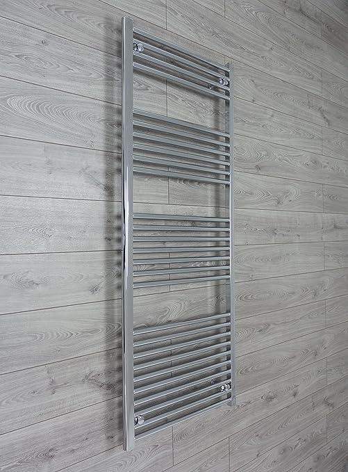 650mm ancho x 1600mm alto Radiador Secatoallas Recto Plano Cromado Baño Calentador Radiador Estantería Calefacción Central